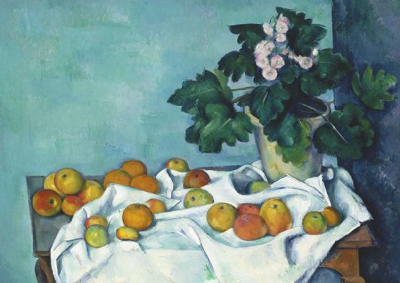 Cezanne, Paul: Still Life with Apples and a Pot of Primroses. Fine Art Print/Poster. Sizes: A4/A3/A2/A1 (004217)